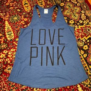 NWOT VS PINK Love Pink Blue Graphic tank top